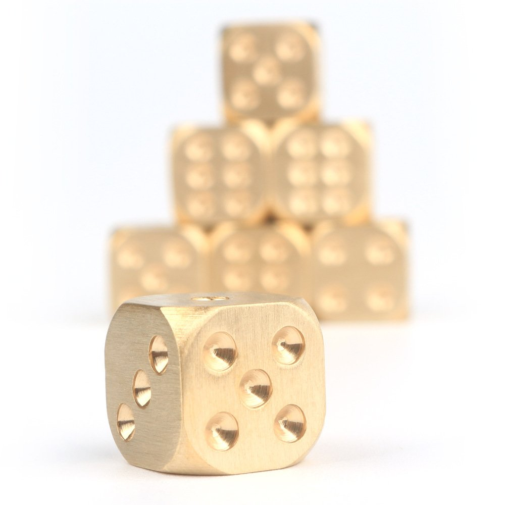 Set of 9 Classic Brass Dices Set, Solid Polished D6 Cube Dies, Portable Copper Poker Dominoes Tables Board Game Drinking Game Dice, Xmas Gift Metal Dice