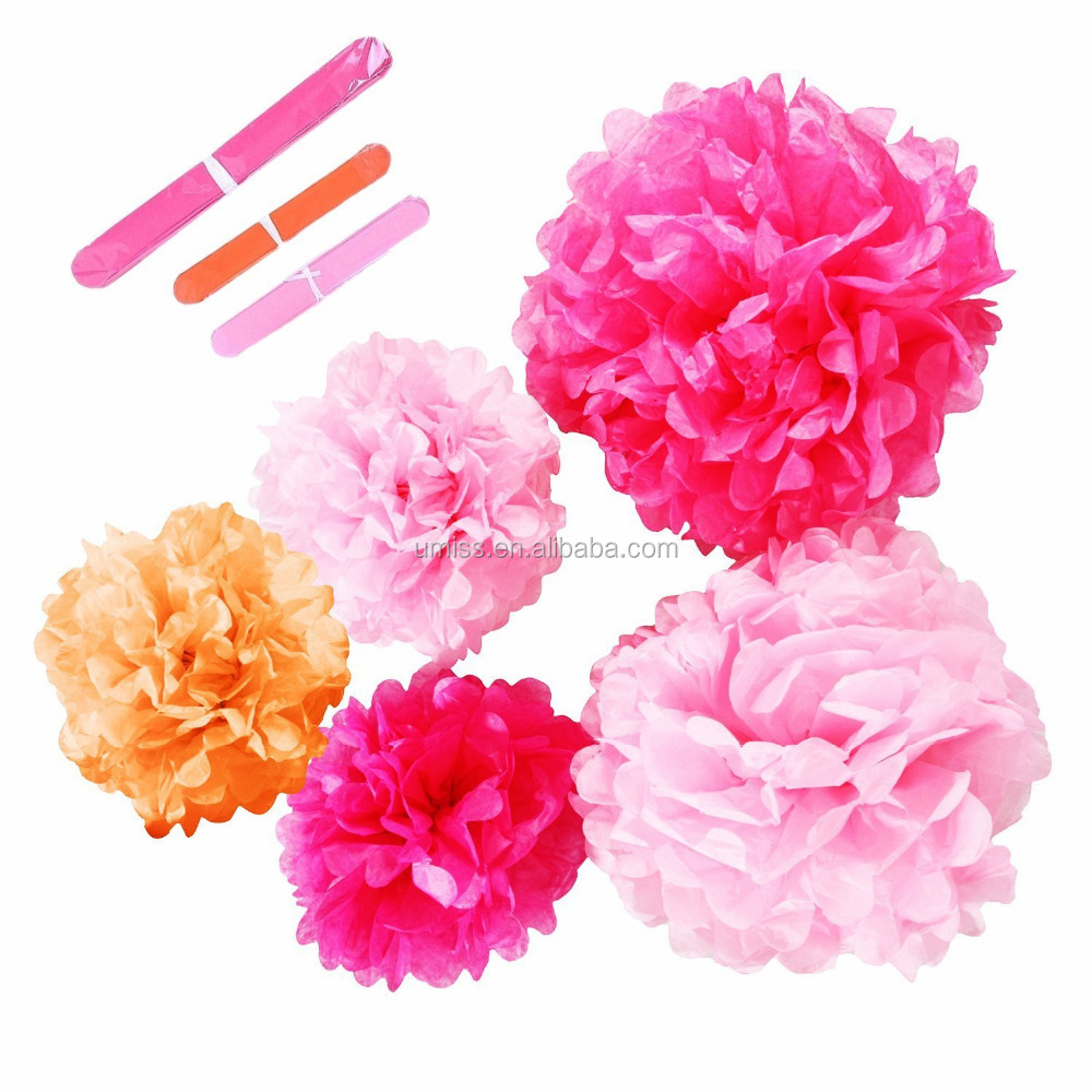 Tissue Pom Poms, Paper Flowers, decorations flower wall hanging For Birthday Party Bachelorette Party