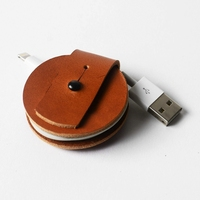round shape brown vegetable leather fixed cable ends and wire organization fashion small cable tidy gifts