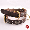 Mushrooms Spiked Rivet and Adomments Studded Adjustable Full Grain Leather Dog Pet Fur Collars for Large Dogs