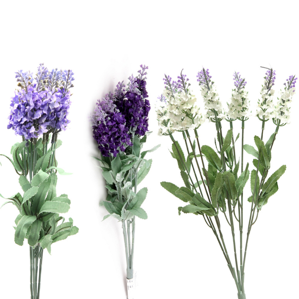 10 head Artificial Elegant French Provence Lavender Silk Flower Bouquet for Wedding Home Party Decoration Lavandula Angustifolia