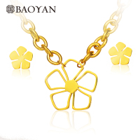 Baoyan Girls Ladies Cute 316L Stainless Steel Gold Color Flower Pendant Chain Necklace Earring Jewellery Set Gift for Girlfriend
