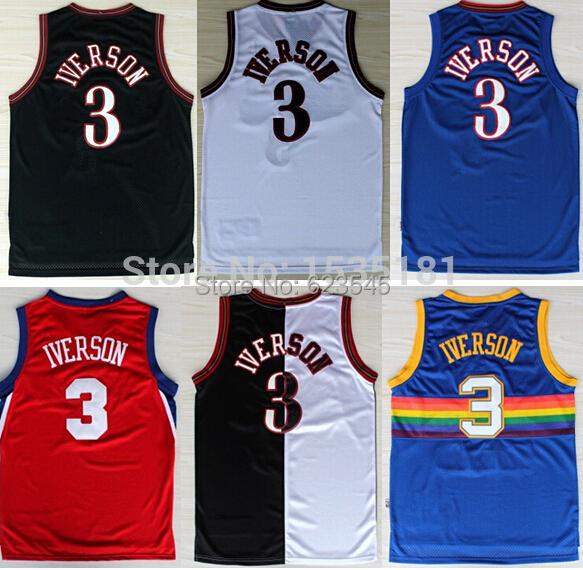 new styles 7ef10 b634e Buy Cheap Retro #3 Allen Iverson Basketball Jersey Throwback ...