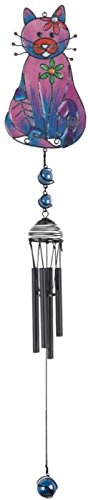 StealStreet SS-G-99952 Black Coated Gems Cat with Fish Bone Hanging Decor Wind Chime