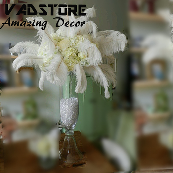 24trumpet Clear Glass Vase Wedding Table Centerpiece White Ostrich