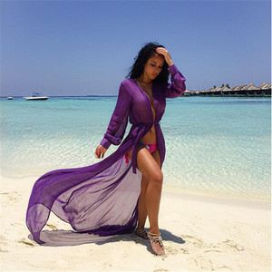 Women long open Beach summer dress fashion purple Bikini Swimwear Cover Up