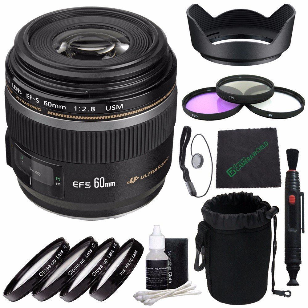 Canon EF-S 60mm f/2.8 Macro USM Lens + 52mm 3 Piece Filter Set (UV, CPL, FL) + 52mm +1 +2 +4 +10 Close-Up Macro Filter Set with Pouch + SLR Lens Pouch + Lens Cleaning Pen + Lens Hood Bundle 2