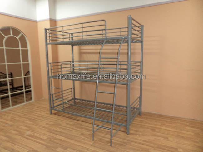 metal bedroom furniture bed frame 3 tier bed triple bunk beds sale