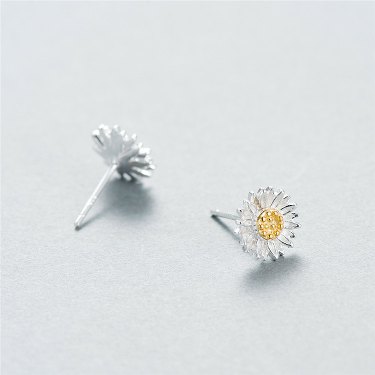 Fashion Women Silver Jewelry 925 Sterling Silver <strong>Gold</strong> Plated Daisy <strong>Flower</strong> Stud <strong>Earrings</strong>