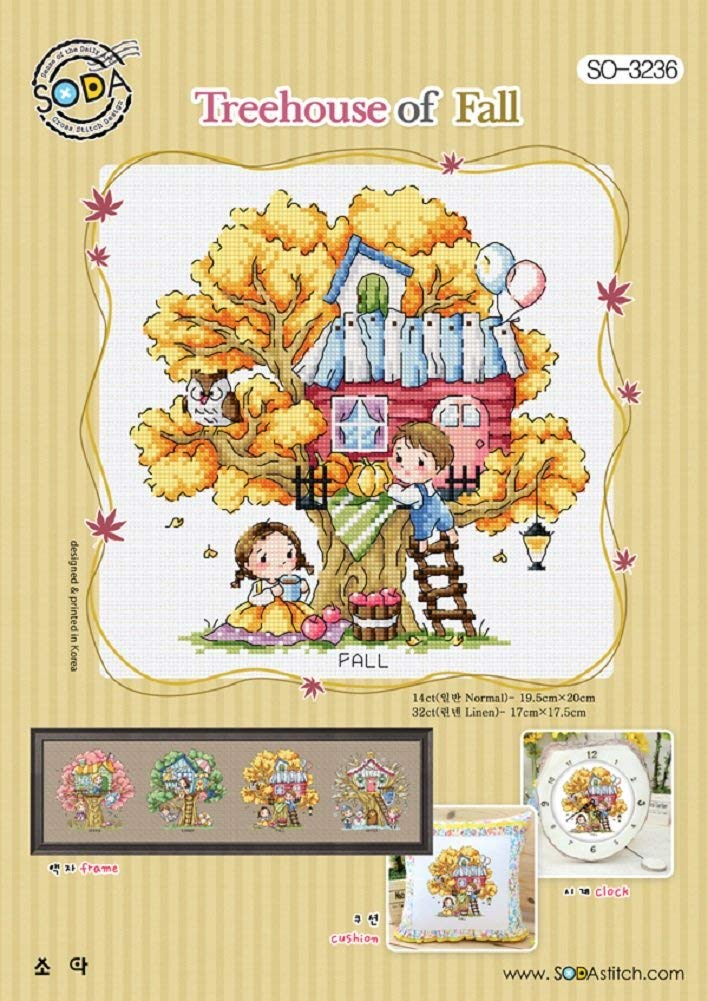 SO-3236 Treehouse of Fall, SODA Cross Stitch Pattern Leaflet, Authentic Korean Cross Stitch Design, Cross Stitch Pattern Chart, Color Printed on Coated Paper