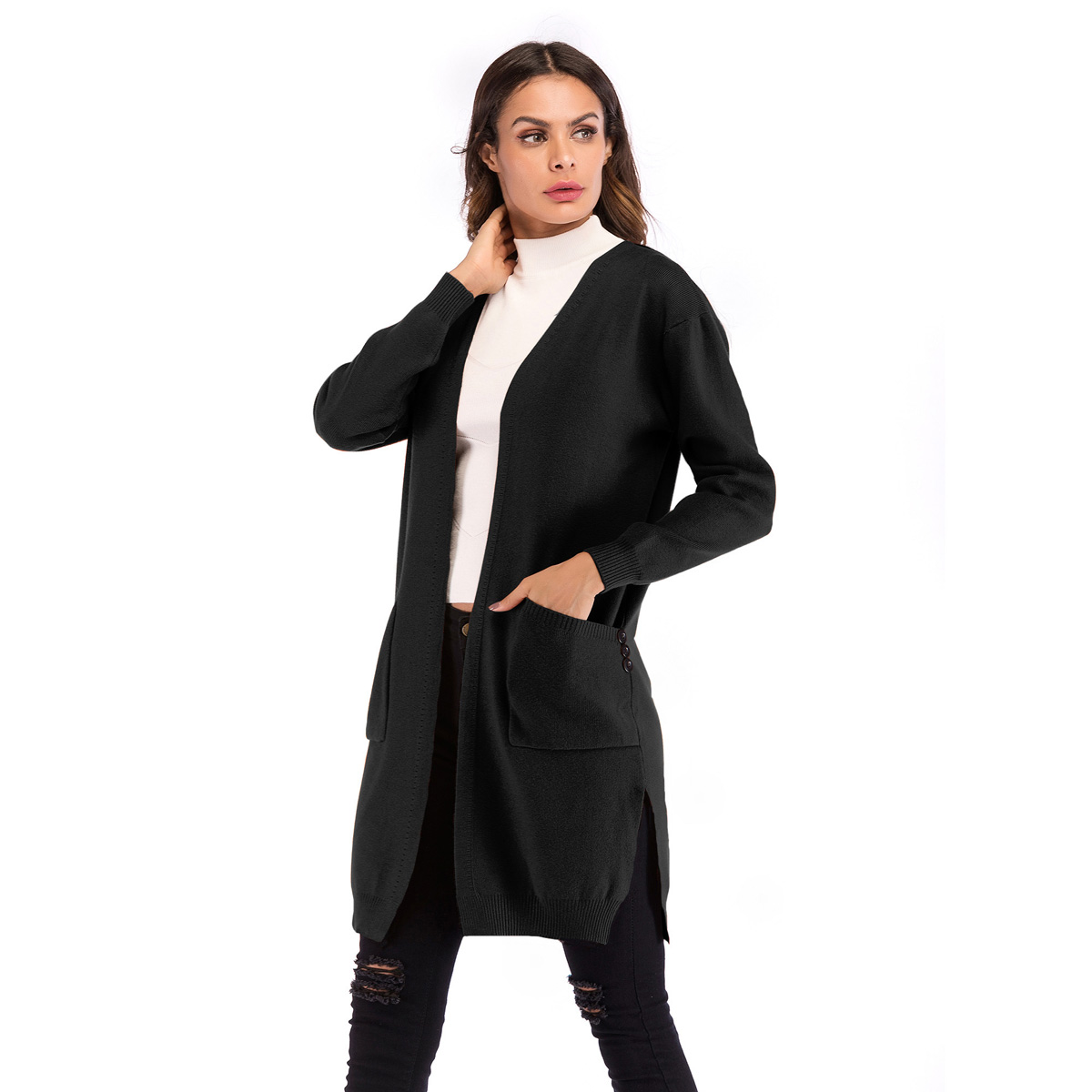 FM-B5858 Women long knitted coat medium long slit knit cardigan double pocket solid sweater for women