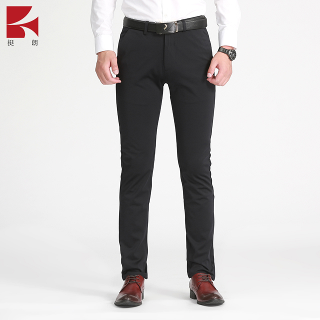 Men's Casual Pants Slim Tapered Cotton Business Dress Pants Stretch Chinos Black
