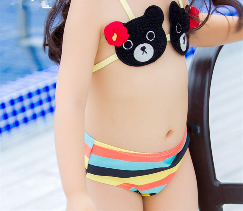 6a03e652d9d Kinder Zweiteiler Halter String Bikini Nette gestreifte Badebekleidung für  Baby