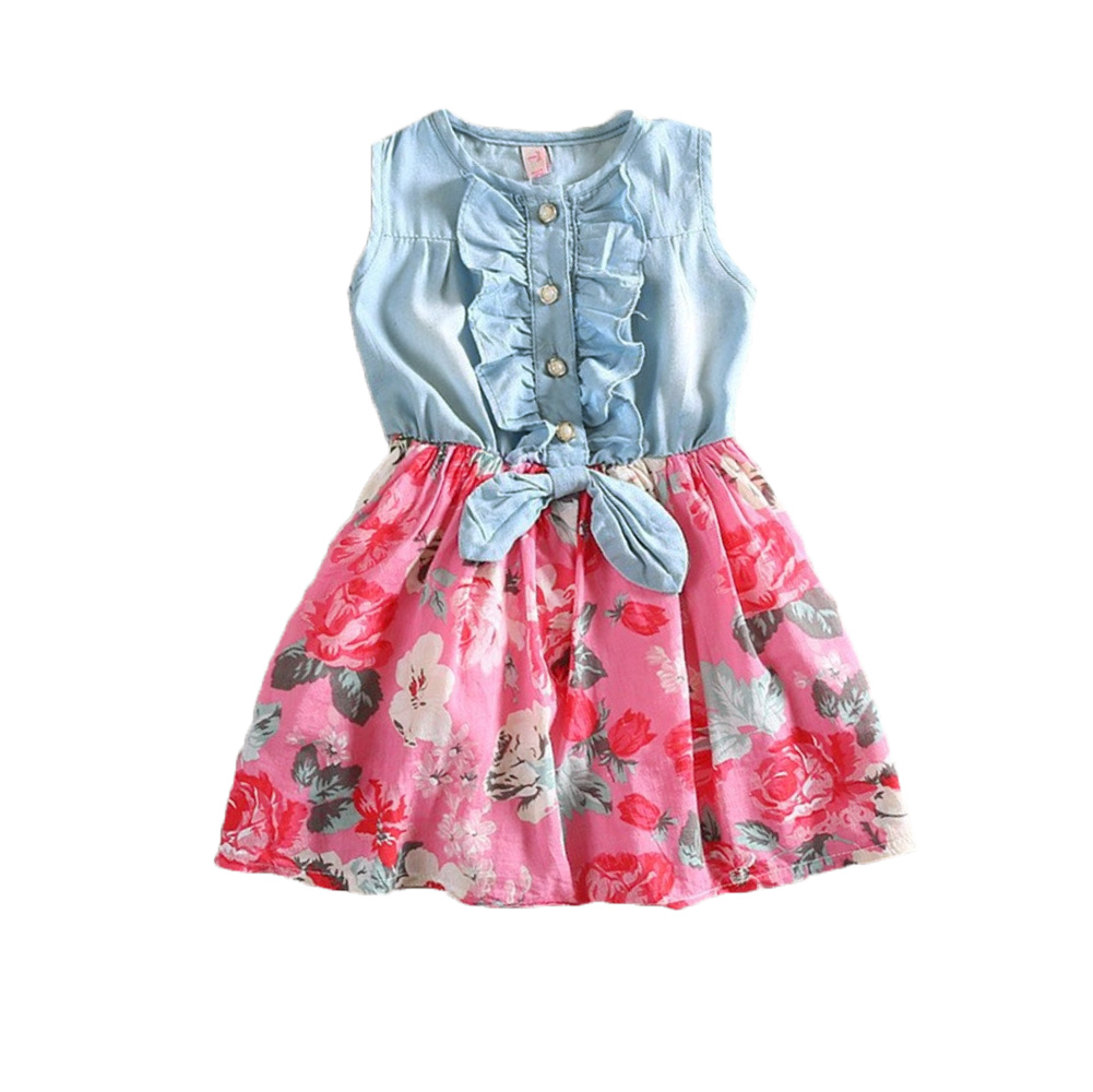3d183a500 Get Quotations · Baby Girl Clothing Splicing Denim Jean Sundress Sleeveless  Bow Casual Girl Summer Dress Flower Ruffled Princess