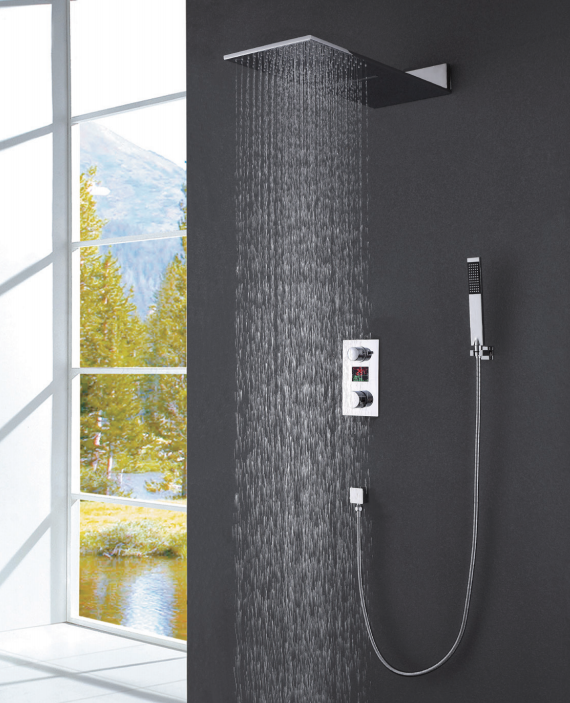Hot sale wall mounted waterfall chrome shower set