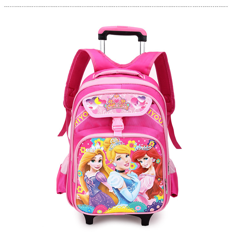df0850d16 Get Quotations · Child Princess Travel Suitcase Removable Nylon Cartoon Luggage  Bags on Wheels Girls Students Trolley Backpacks Kids