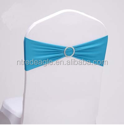 luxury blue stretch chair sash for wedding spandex chair band with round buckle