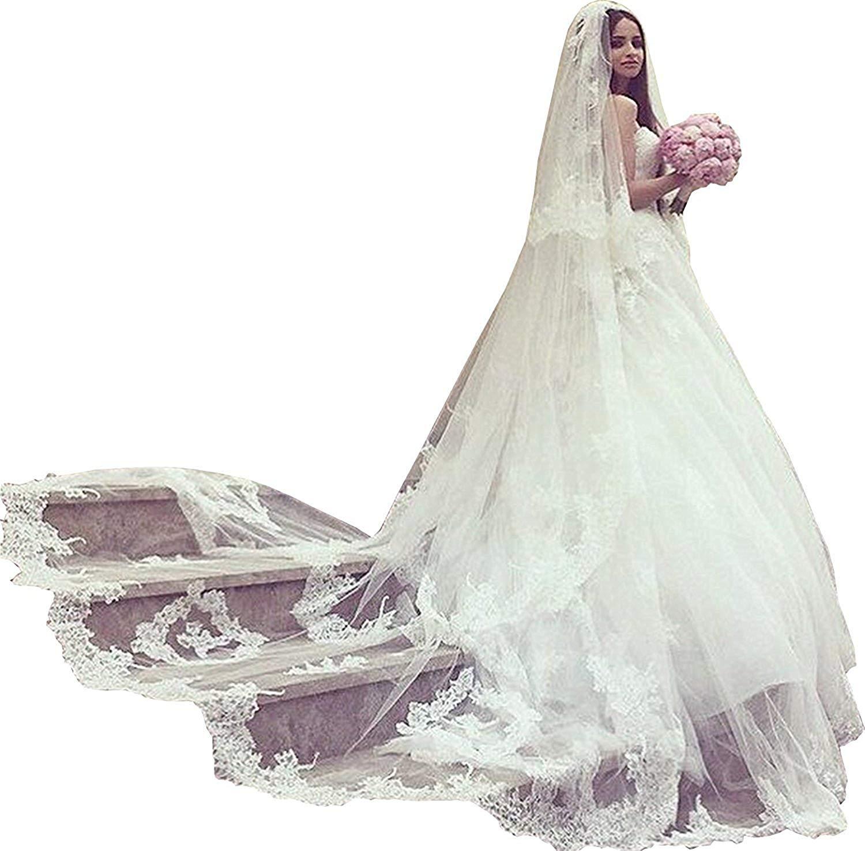 Fenghuavip 2T 2 Tires Bridal Veils Long Lace Trim 3.5 Meters Wedding Veils