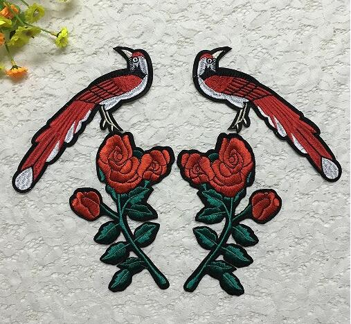 high qulity wholesale china factory cheap flowers and cute birds delicate embroidery cloth patch