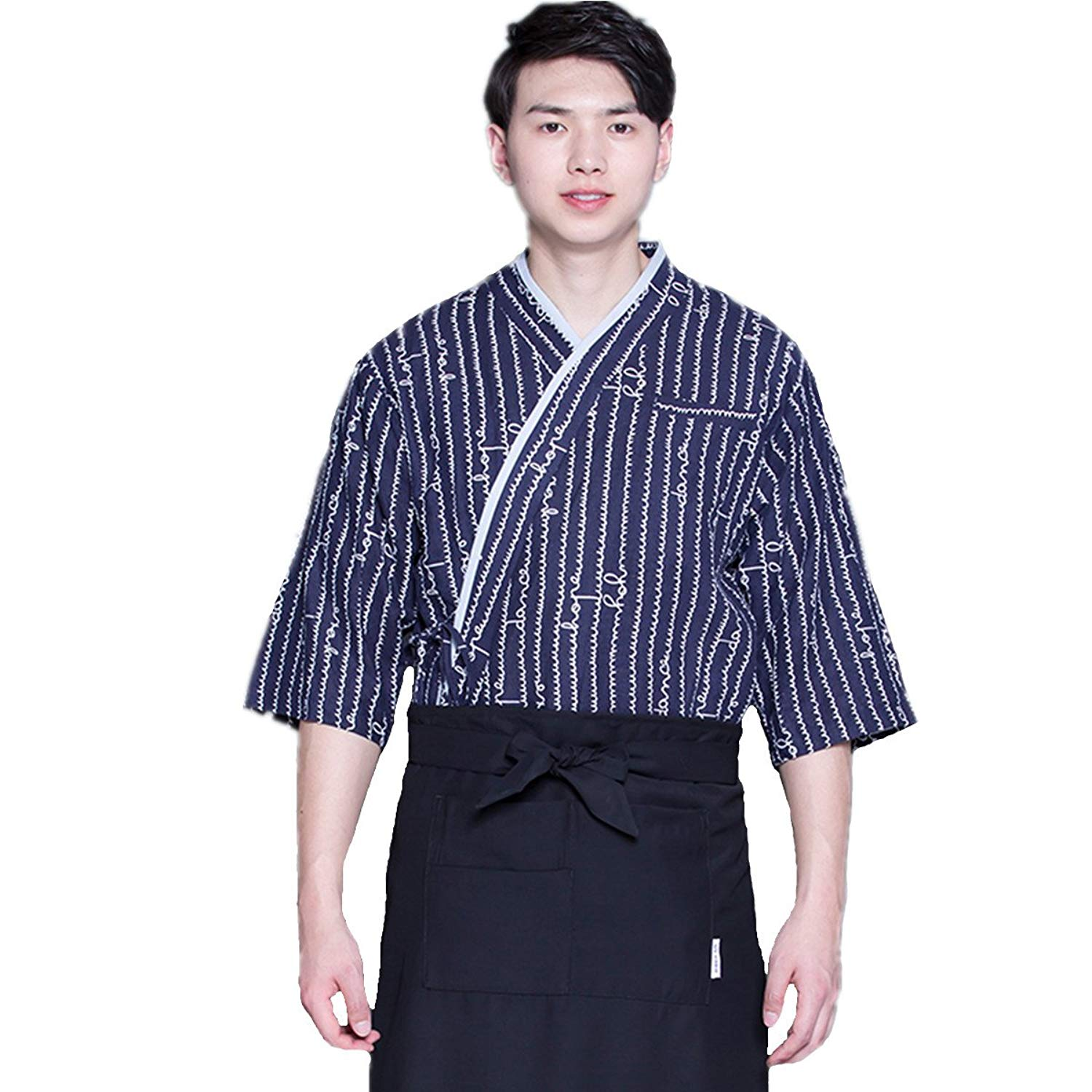 XINFU Sushi Chef Uniform Blue Waves 3/4 Long Sleeve Restaurant Japanese Kitchen Work Coat