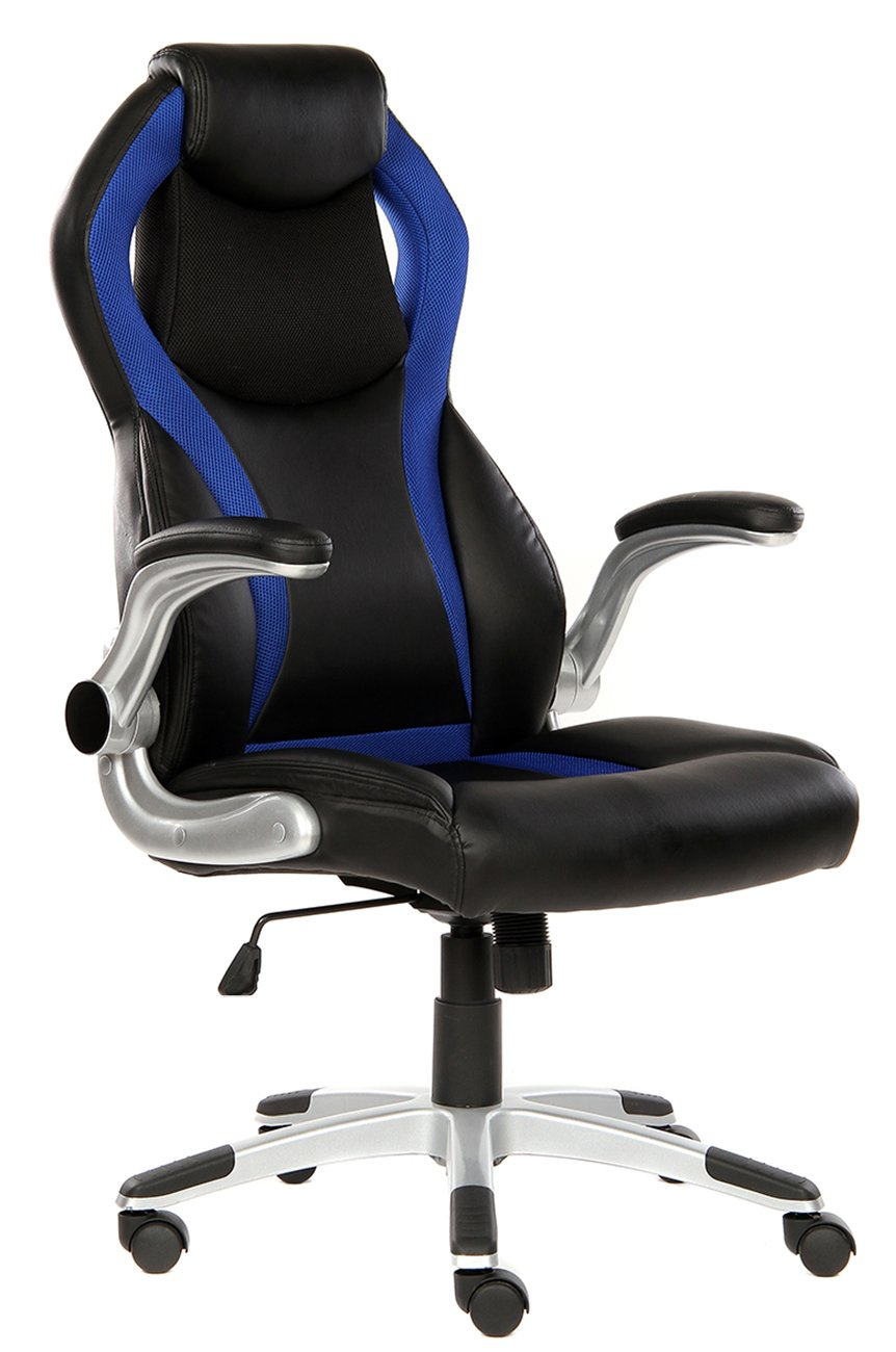 SEATZONE High-back Executive Swivel Office Chair, Adjustable Gaming Chair with Folding Armrest, Racing Car Style Bucket Seat Computer Chair for Working, Studying, E-sports Use, Blue