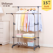 Adjustable telescopic double pole clothes rack