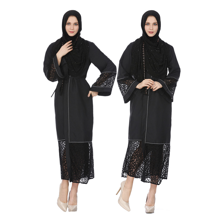 New design fashion top sellingadmirable Muslim ladies gowns with black lace