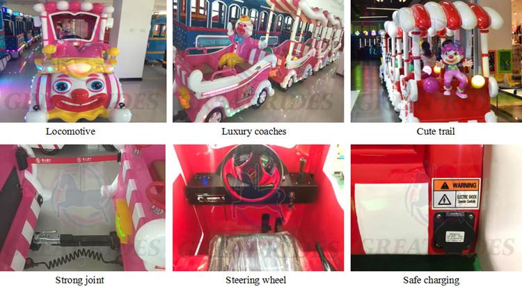 Atração de diversões equipamento do parque de jogos dos miúdos dos desenhos animados da bateria elétrica operado mini sem trilhas passeios de trem para venda