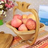 Custom Bamboo or Wood high quality supermarket Apple Shape basket packing food bread fruit Basket picnic Storage basket
