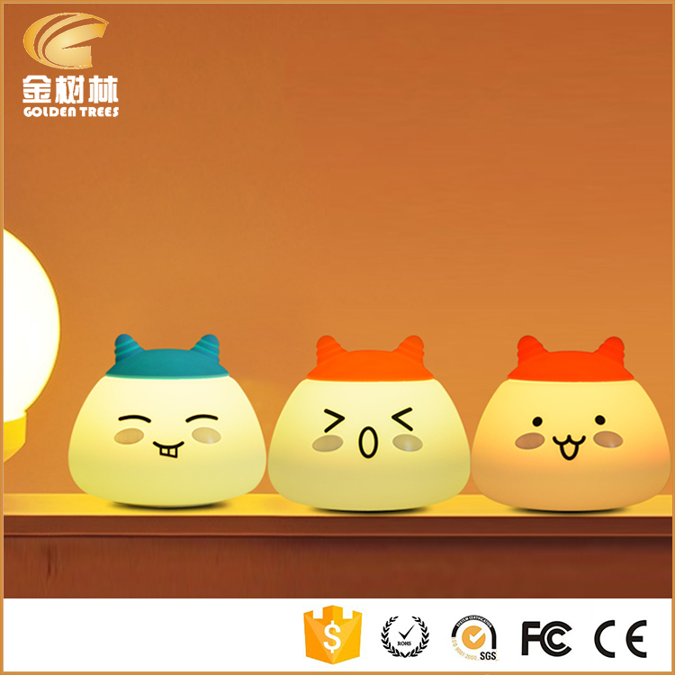 Novelty Creative 7color Led Emoji Cat Silicone Night Light With 1200mah Battery