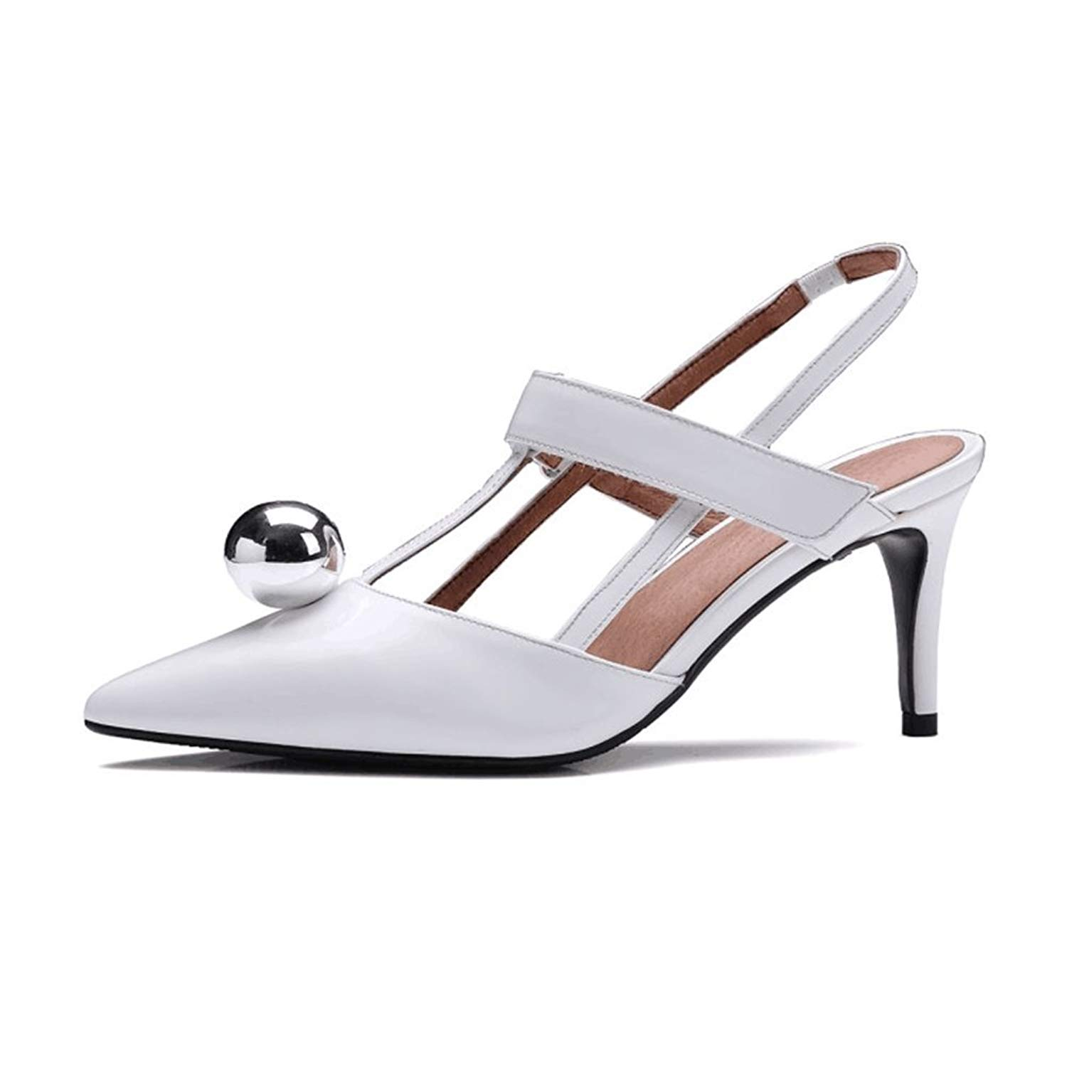 13876cfc2fa Get Quotations · Nine Seven Patent Leather Women s Pointy Toe Stiletto Heel  Slingback Handmade Dress Pump Heels (7.5