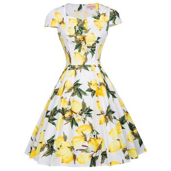 Belle Poque 1950s Retro Vintage Cap Sleeve A Line Floral Flare Party Dress BP000239