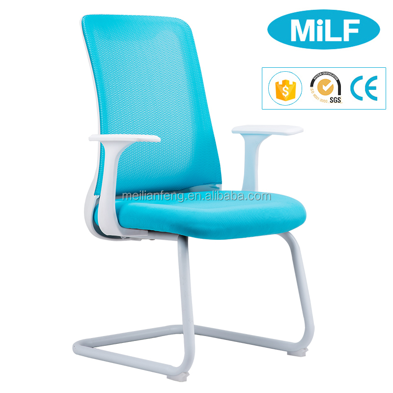 Foshan Factory Cheap Mesh Office Bow Foot Cantilever Visitor Chair Without Wheels