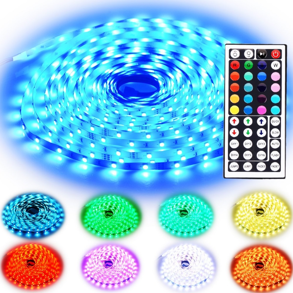 Christmas Festival Led Strip Lighting 10M 32.8 Ft 5050 <strong>RGB</strong> 300LEDs 12v 24v DC Flexible Color Changing with 44 Keys IR Remote