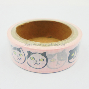 Hot selling Japanese paper tape cute cat printed washi tape for gift box decoration
