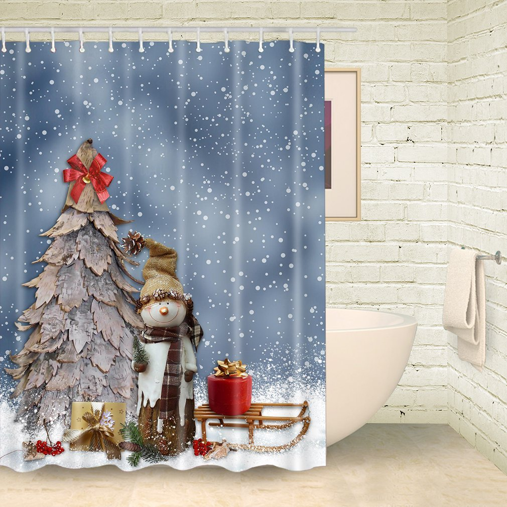 Get Quotations FOOG Cute Snowman Shower Curtains Christmas Tree Snowflake Curtain Bathroom Sets With Rings