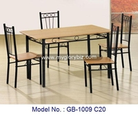 Elegant Antique Design Furniture Set, Metal Wooden Seat Dining Set, Metal Home Furniture For Dining Room Tables And Chair