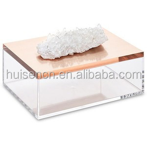 Deluxe Acrylic Clear Rose Gold Jewelry Box With Crystal Stone Makeup