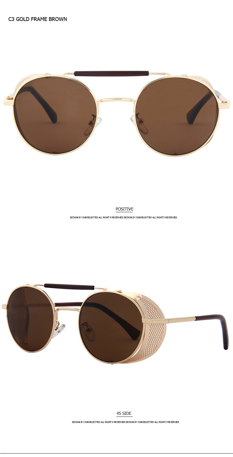 3006579651 COLECAO Steampunk Sunglasses Mens Round Sunglasses Men s Glasses ...