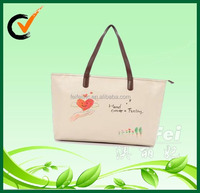 laminated tote bag with PU leather handle