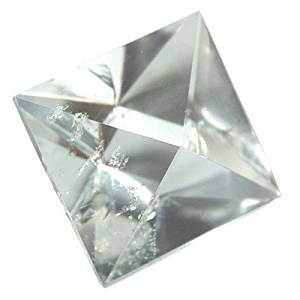 "Clear Quartz Octahedron Platonic Solid ""Extra"" (1-1/4"" - 1-1/2"") (Brazil) - 1pc."