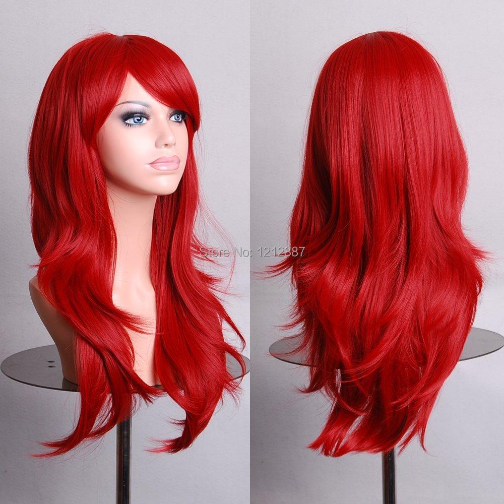 Аниме парики длинные красный высокая температура волосы шелк парик косплей 70 см HB88