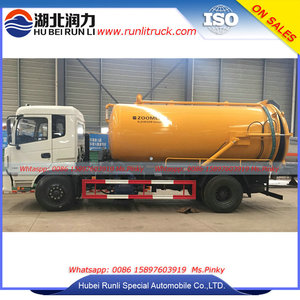 8Tons to 10Tons Waste Water Trucks New Model Vacuum Tank Vehicle Tipper and Vacuum Pump