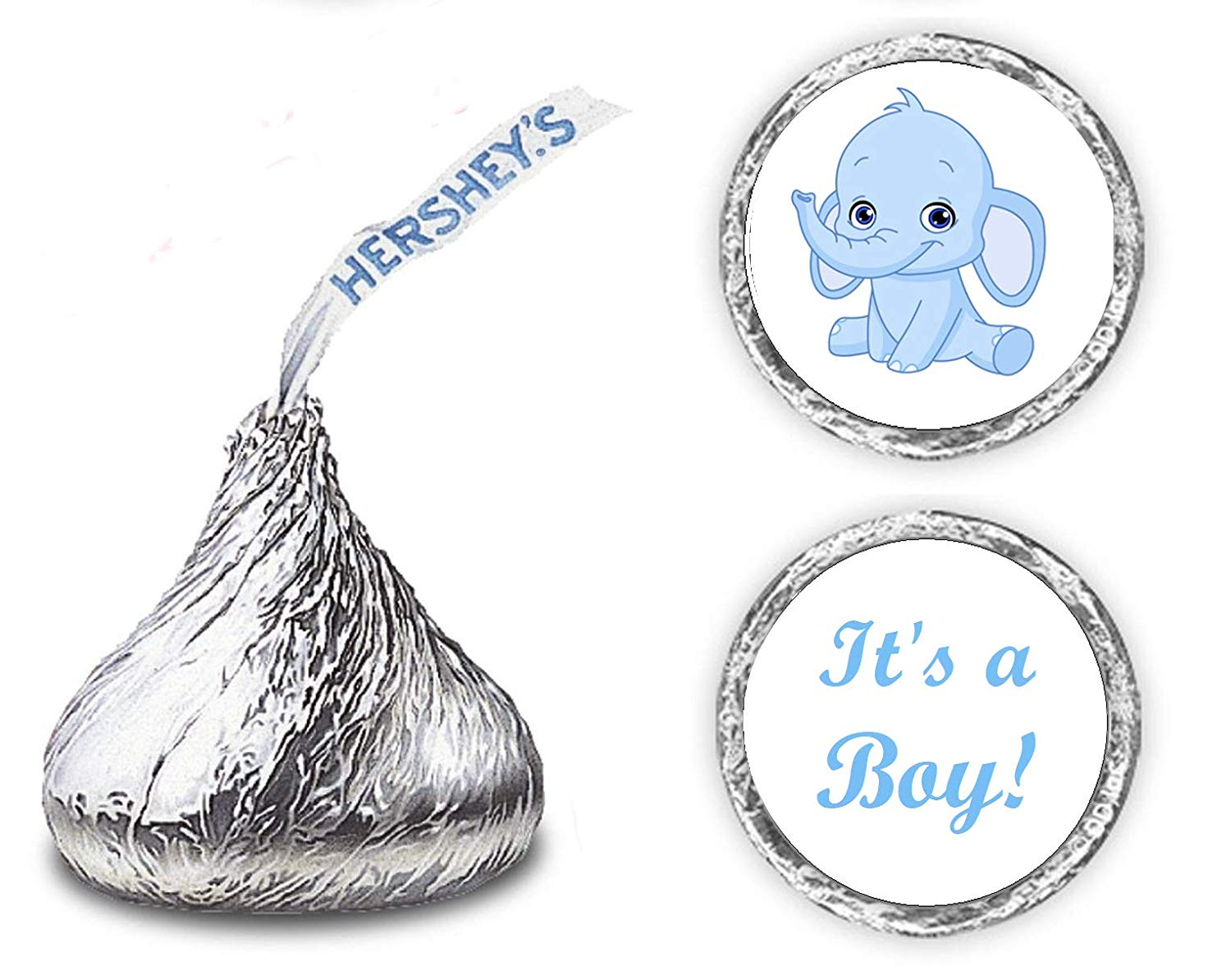 324 Blue Elephant Its a Boy Baby Shower Favors Stickers for Baby Shower Or Baby Sprinkle Party, Baby Shower Kisses Stickers, Baby Shower Blue Favors, Baby Shower Labels, Its a Boy Kisses