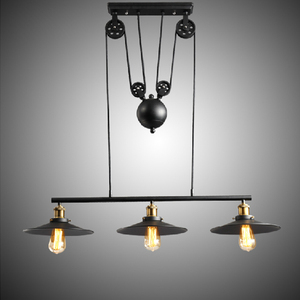 Vintage Ceiling Lights Loft Wheel Lifting Pulley Chandeliers Pendant Light Lamp