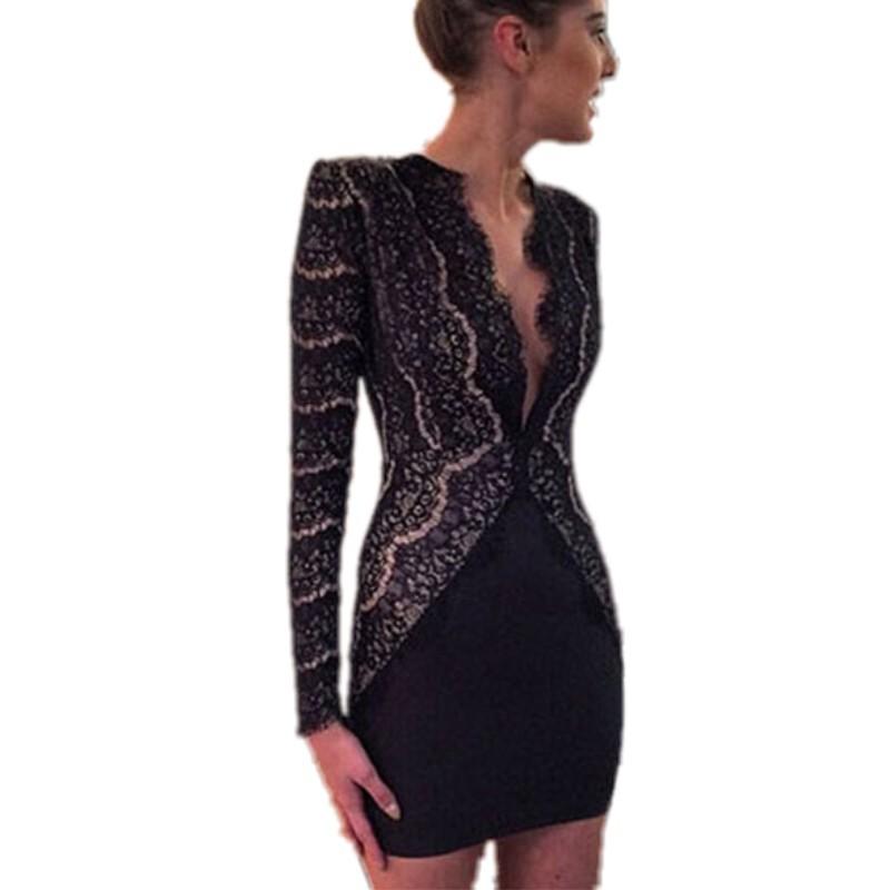 30bec3cdae Get Quotations · Vestido de noiva 2015 autumn work dresses for women lace  eyelash nude illusion long sleeve sexy