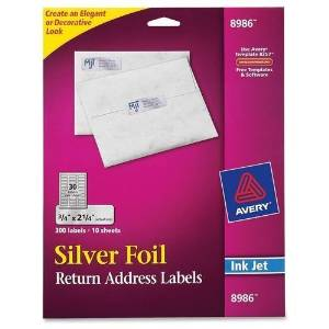 "Avery Ink Jet Silver Foil Labels, Mail, 3/4""x2-1/4"", 300/PK (8986)"