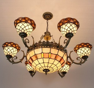 Tiffany african style chandelier lamp with new design for restaurant decor