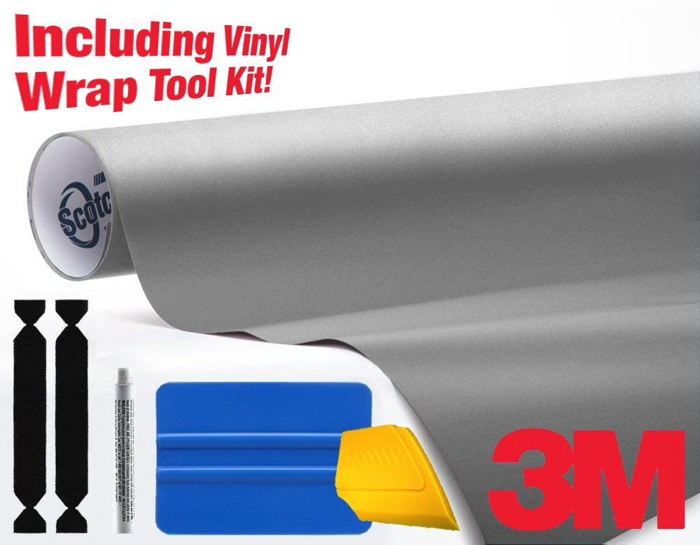 3M 1080 Matte Gray Aluminum Air-Release Vinyl Wrap Roll Including Toolkit (15ft x 5ft)