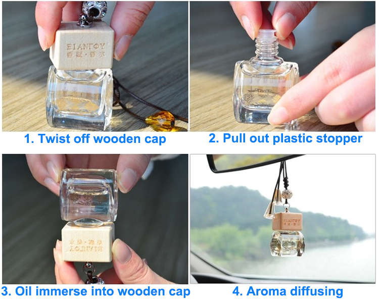 5ml ball shaped car empty hanging car air freshener perfume diffuser bottle with wooden cap and rope
